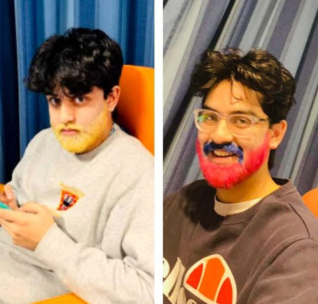 Karan before dyeing his beard (left) and after dyeing his beard (right).