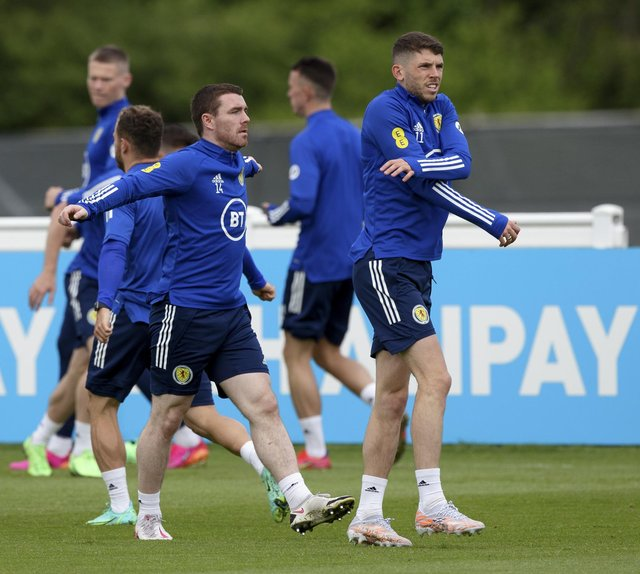 DARLINGTON, ENGLAND - JUNE 11: John Fleck (L) and Ryan Christie during a Scotland training session at Rockliffe Park, on June 11, 2021, in Darlington, England. (Photo by Craig Williamson / SNS Group)