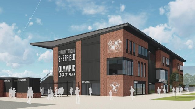 The stadium will have capacity for up to 3,900 spectators, a three-storey covered stand and 23,000 sq ft of business space.