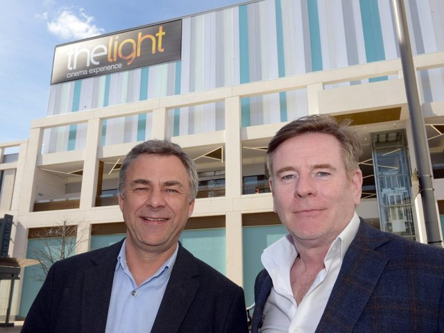 Keith Pullinger, left, and commercial director Mike Thomson outside The Light cinema in Sheffield in 2017