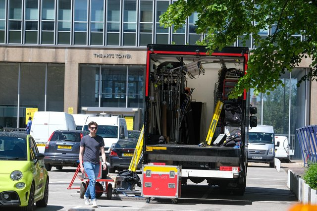 Filming taking place at Sheffield University Arts Tower.