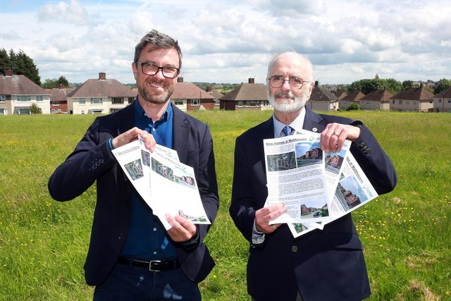 Steve Birch from Sheffield Housing Company and Cllr Tony Damms discuss the forthcoming Malthouses project as well as the information leaflets that will be given to local residents, Sheffield, United Kingdom, 11th June 2021. Photo by Glenn Ashley.