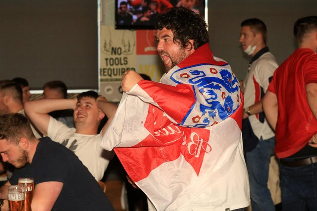 Fans celebrate at The Common Room as England beat Germany in Euro 2020, meaning they are set to take on Ukraine in Rome on Saturday. Picture: Chris Etchells
