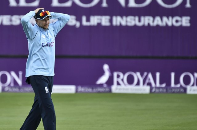 England's Joe Root reacts during the third one day international cricket match between England and Sri Lanka, at Bristol  (AP Photo/Rui Vieira)