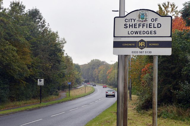 City of Sheffield Sign A61 from Chesterfield.