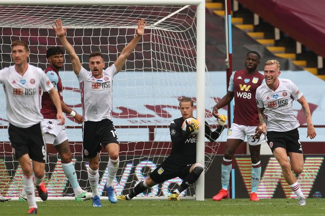 Oliver McBurnie and Jack Robinson of Sheffield United appeal for a goal after Orjan Nyland of Aston Villa took the ball over the line (Carl Recine/Pool via Getty Images)
