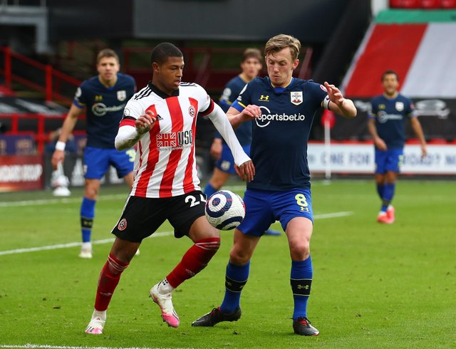 Rhian Brewster of Sheffield Utd and James Ward-Prowse of Southampton during the Premier League match at Bramall Lane, Sheffield. Picture date: 6th March 2021. Picture credit should read: Simon Bellis/Sportimage