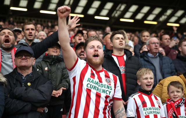 Sheffield United fans show their support in the stands: Nick Potts/PA Wire.