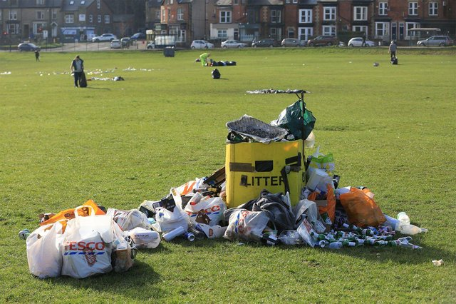 The rubbish clear up at Endcliffe Park. Picture: Chris Etchells