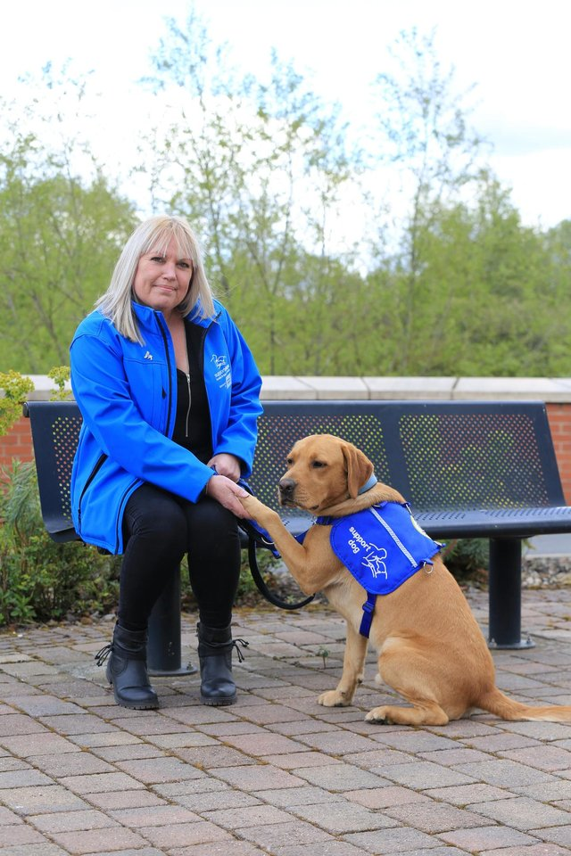 Support Dogs charity based in Sheffield. Pictured is  Rita Howson, chief executive. Rita is pictured with Bear who is a support dog in training. Picture: Chris Etchells