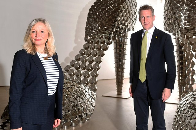 Mayor of West Yorkshire Tracy Brabin and the Mayor of Sheffield City Region Dan Jarvis are pictured in the Joana Vasconcelos exhibition at the Yorkshire Sculpture Park, near Wakefield.. .....17th May 2021..Picture by Simon Hulme