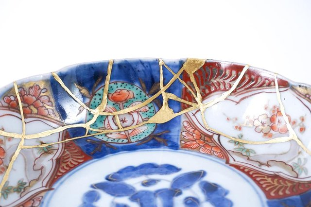 A Kintsugi Japanese plate restored with gold