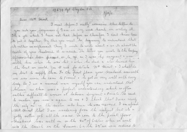 Page one of the letter