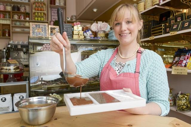 Kate Shepherd, onwer of Cocoa Wonderland, Ecclesall Road, Sheffield, prepares a batch of chocolate.