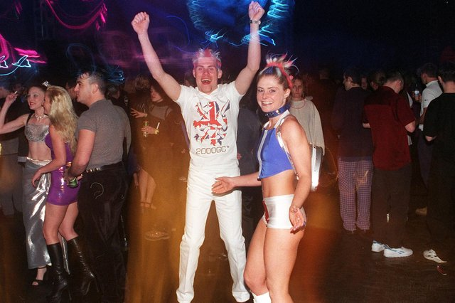 Millennium revellers at Don Valley stadium for the Gatecrasher party