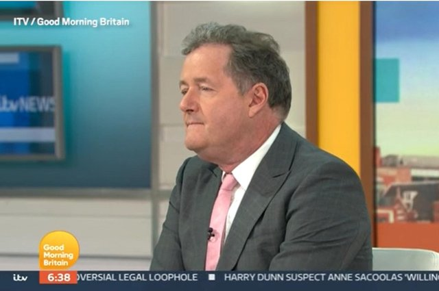 Piers Morgan during a Good Morning Britain discussion about the Duchess of Sussex with his colleague - ITV/PA