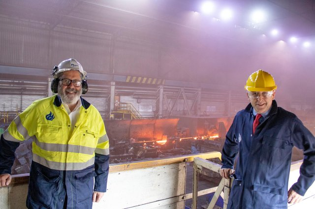 John Healey MP, right, at Liberty's Thrybergh mill with Steve Unwin managing director for Rotherham Steel and Bar.