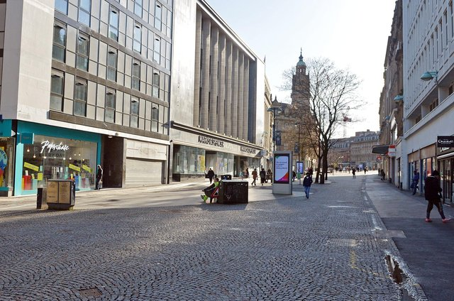 Sheffield City Centre during lockdown.