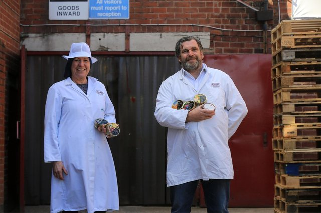 Simpkins sweet factory in Hillsboorugh, who have been manufacturing boiled sweets on the same site, using a lot of the same machinery, for 100 years this year. Pictured are Adrian and Karen Simpkins. Picture: Chris Etchells