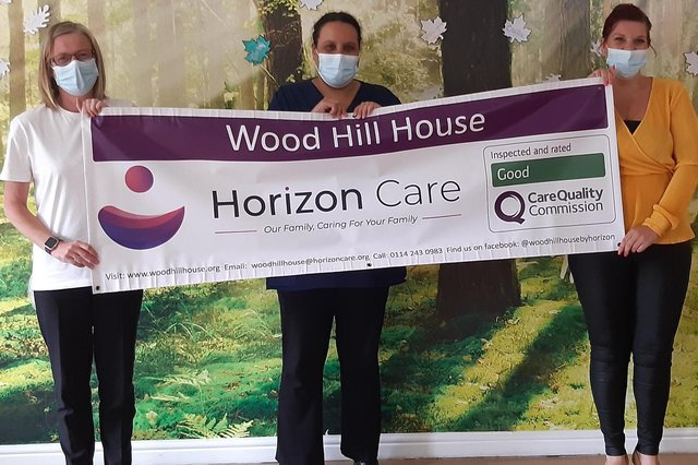 Staff at Wood Hill House in Sheffield celebrate getting a 'good' rating from the Care Quality Commission