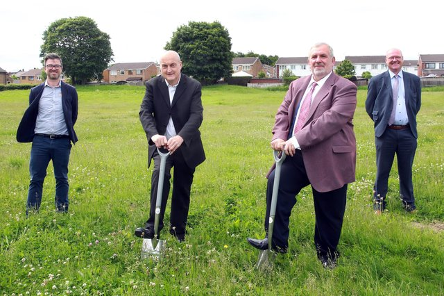 (L-R) Steve Birch, Interim Project Manager at SHC, Cllr. Mike Chaplin, Southey Ward Member, Cllr. Paul Wood, Executive Member for Housing, Roads and Waste Management and Stuart Leslie, Divisional Director at Esh Construction.. Photo by Glenn Ashley.