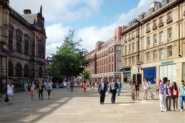 An artist's impression of how Pinstone Street will look