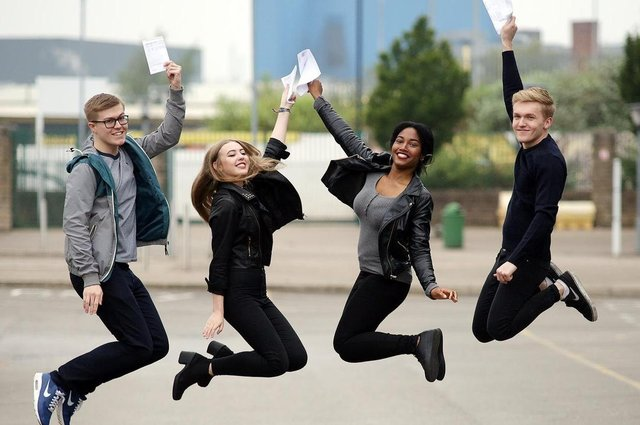 Sheffield College students picking up their A-level results