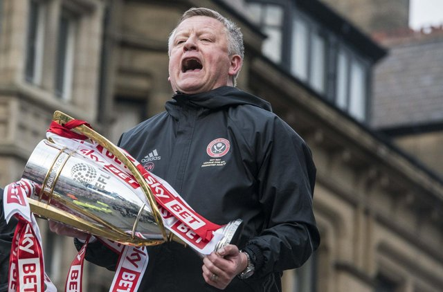 Sheffield United manager Chris Wilder celebrates winning promotion to the Championship - Dean Atkins
