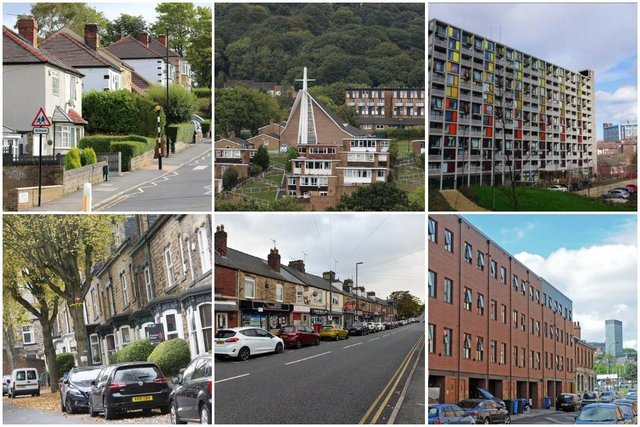 The Sheffield postcodes where properties have sold the fastest and slowest.  Top row shows the areas where properties have sold the fastest. (L-R): Greenhill (S8); S14 (Gleadless Valley) and Park Hill (S2) Bottom row shows the areas where properties have sold the slowest. (L-R): Nether Edge (S7); Mosborough (S20) and Kelham Island (S3)