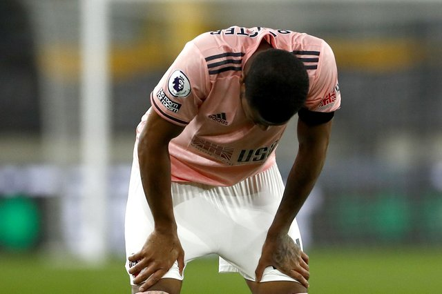 Sheffield United's Rhian Brewster reacts after relegation was confirmed: Jason Cairnduff/PA Wire.