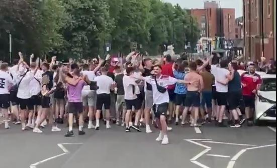 Crowds gathered in Ecclesall Road after England's 1-0 Euro win yesterday