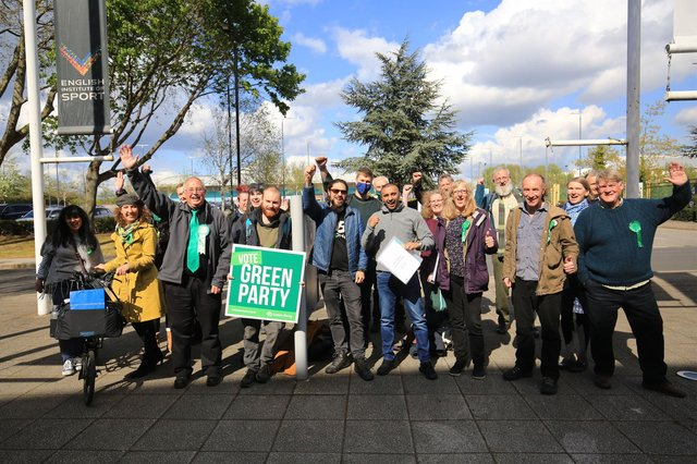 Sheffield City Council election count 2021. The Green Party celebrating. Picture: Chris Etchells