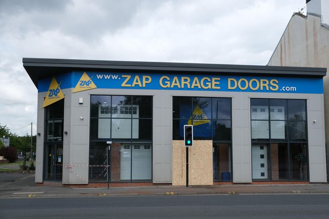 The shopfront of Zap Garage Doors in Attercliffe was damaged in the crash.