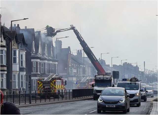 The fire has closed off Balby Road. (Photo: Terry Hill).