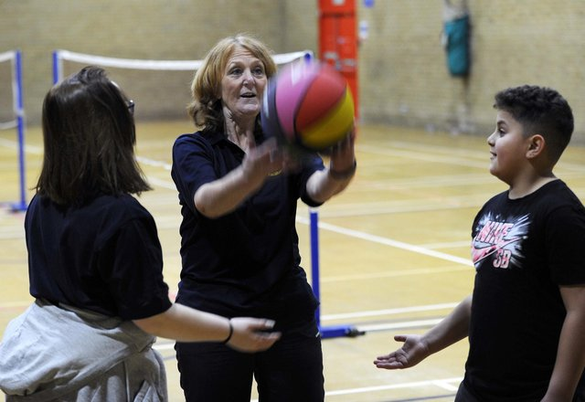 Shine Health Academy Sports Session at the Springs Leisure Centre, taking the class is Kath Sharman the charity's founder. Picture: Steve Ellis