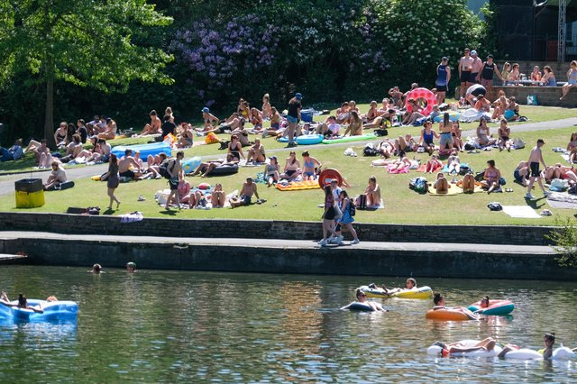 Taking advantage of the hottest day of the year in Crookes Valley Park in Sheffield