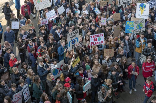 Youth Climate Strike outside Sheffield Town Hall in February 2019