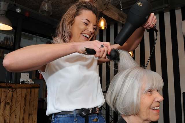 Jordanna Nichols-Turley with a client at The Headonist on Campo Lane, Sheffield. Picture: Andrew Roe.