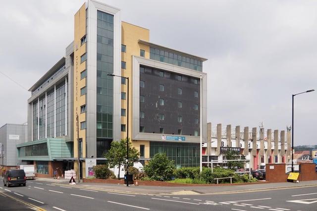 The hotel at Bramall Lane, Sheffield.