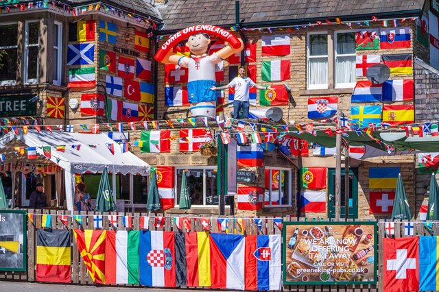 The Big Tree pub in Woodseats, Sheffield, where England fans gathered from 7am today ahead of the Euro 2020 last-16 clash with Germany (pic: Tom Maddick/SWNS)