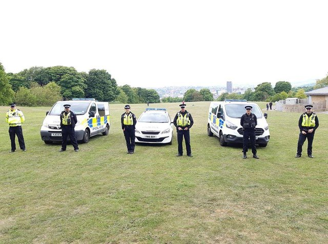 Officers from South Yorkshire Police's Manor and Arbourthorne teams in Norfolk Park.