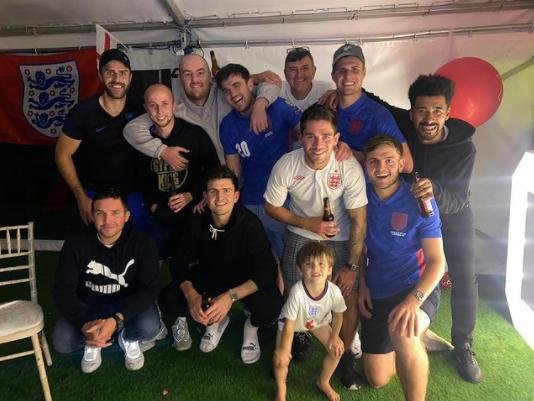 Harry Maguire with family and friends at his party. Picture: Instagram