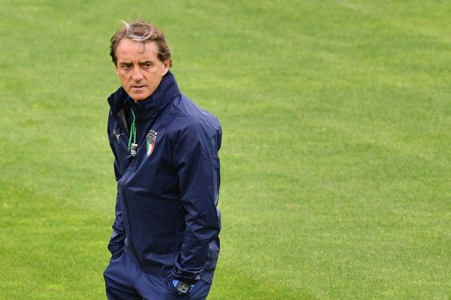 Italy's coach Roberto Mancini. Photo by JUSTIN TALLIS/AFP via Getty Images