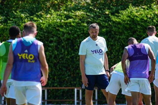 Slavisa Jokanovic speaks to his players on their pre-season camp in Malaga