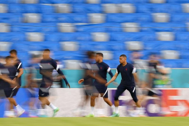 France's Kylian Mbappe pictured in training in Munich ahead of his side's clash with Germany. Photo by Matthias Hangst/Getty Images