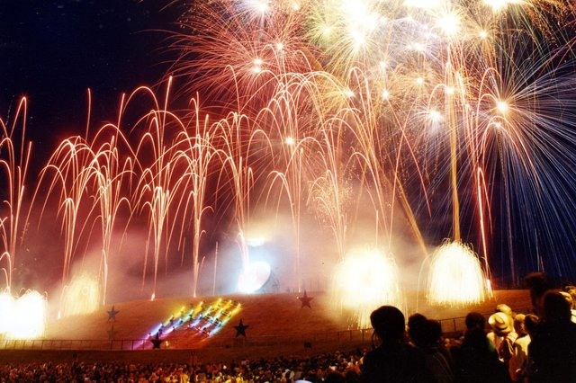A firework display at the World Student Games opening ceremony at Don Valley Stadium, July 14, 1991