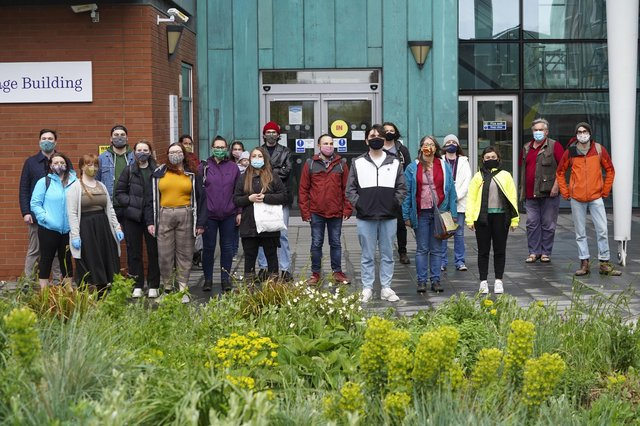 Archaeology staff and students outside Sheffield University's Ella Armitage building. Picture Scott Merrylees
