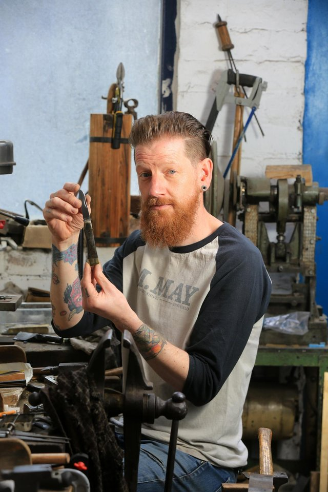 Knife maker Michael May, Portland Works, Sheffield. Picture: Chris Etchells