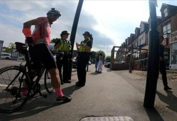 Officers running Operation Close Pass on Ecclesall Road, Sheffield