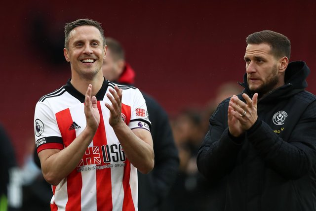 Phil Jagielka of Sheffield United claps the fans after his farewell game against Burnley (Photo by Jan Kruger/Getty Images)